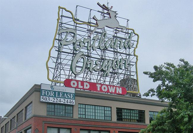 Portland's iconic White Stag sign is familiar to many television views