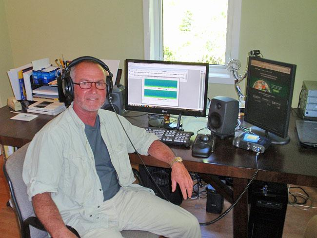 "Gordon Hempton edits his ""greatest hits"" at his home studio in Indianola, Wash."