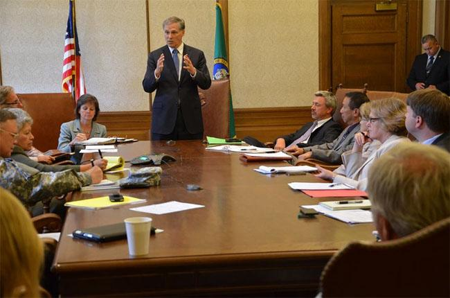 Washington Governor Jay Inslee met with his Cabinet on Wednesday.