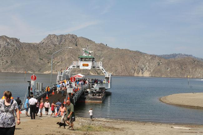 Crowds turned out for the christening of teh M.V. Sanpoil, but usually there's little foot traffic on this remote ferry.