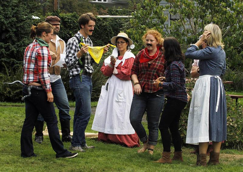 Teams participate in The Oregon Trail LIve II at the Willamette Heritage Center at the Mill Saturday, Sept. 21, 2013.