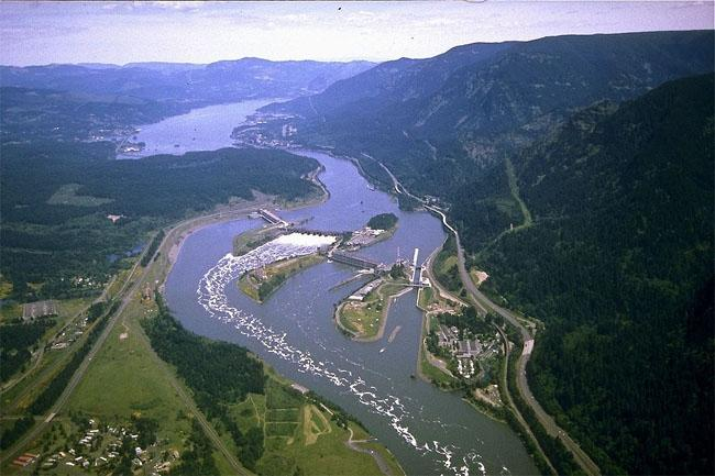 File photo of an aerial view of Columbia River and Bonneville Dam