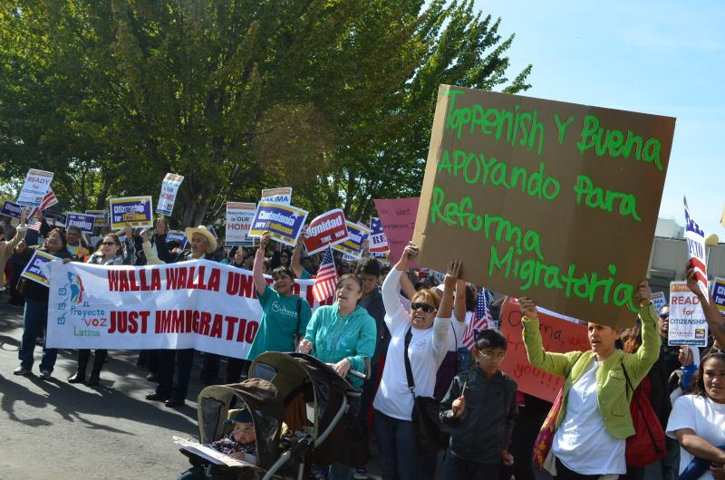 Immigrant rights groups rallied in Yakima, Wash., Saturday as part of a national protest.