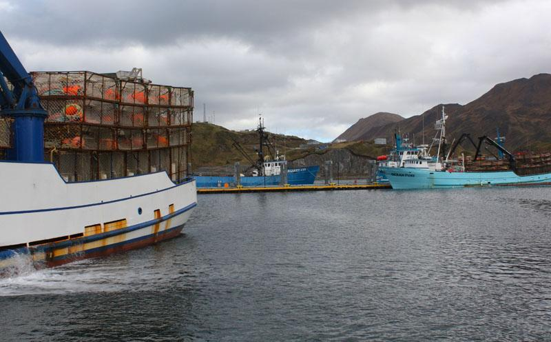 Fishing boats wait in port in Alaska's Aleutian Islands