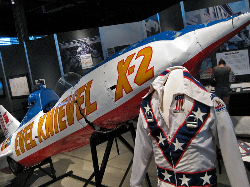 "Evel Knievel's ""Skycycle X-2"" used in the Snake River Canyon jump attempt seen on display at the Harley Davidson museum in Milwaukee."