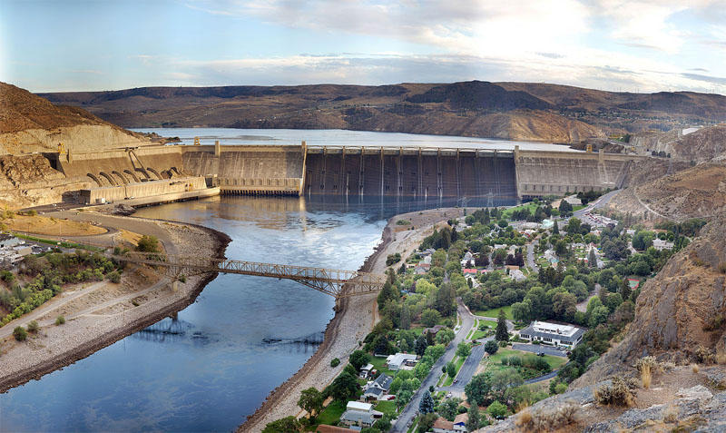 File photo of Grand Coulee Dam, looking Southeast.
