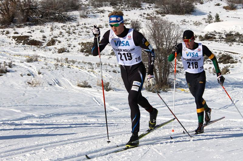 Erik Bjornsen pulls ahead on the way to a first place finish in the 15km classic race at the 2014 U.S. National Championships in Soldier Hollow, Utah on Saturday.