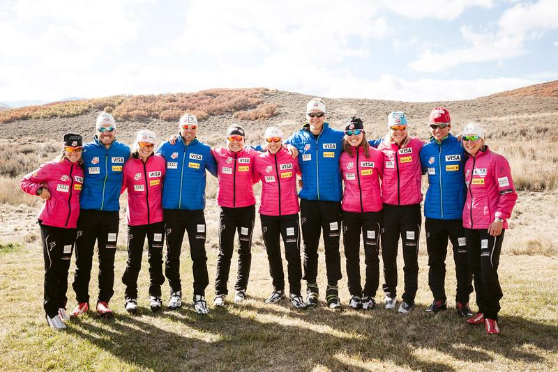The 2014 U.S. Olympic Team has a Northwest flavor, including these Nordic skiers, Sadie Bjornsen (3rd from R), Erik Bjornsen (5th from R), Holly Brooks (5th from L) and Simi Hamilton (2nd from L).