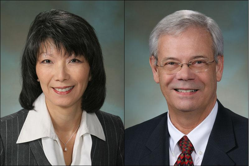 Rep. Sharon Tomiko Santos (left) and Rep. Larry Haler.