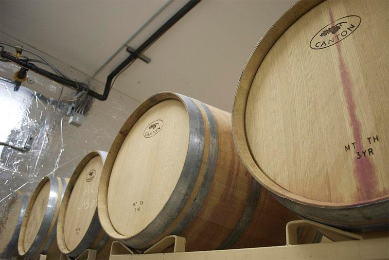 Wine barrels at Russell Creek WInery in Walla Walla, Wash.