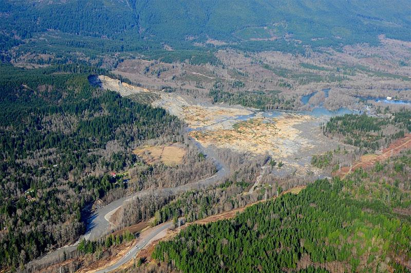 Aerial photo of the mudslide in Snohomish County, Wash.