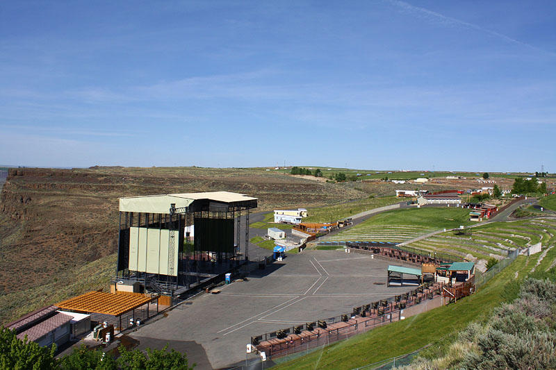 The Gorge Amphitheater, a week before Sasquatch. When 25,000 people pack the Gorge, its population exceeds every other town in Grant County.