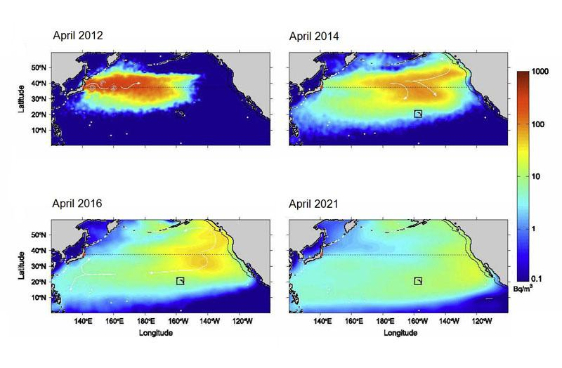 Fukushima seawater radiation plume dispersal model by Rossi et. al.