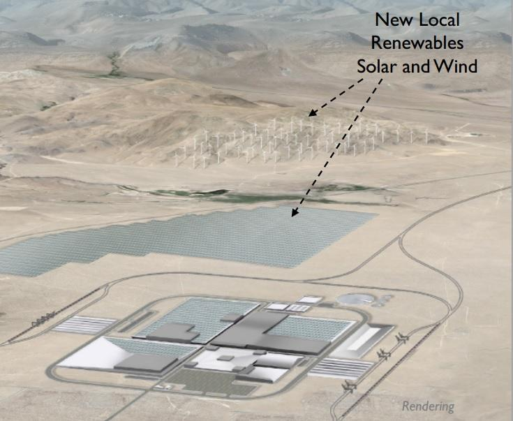 A rendering of a planned Tesla battery factory.