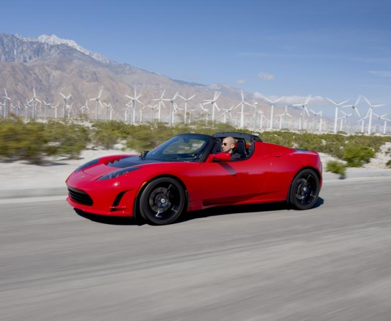 A Tesla Roadster electric car.