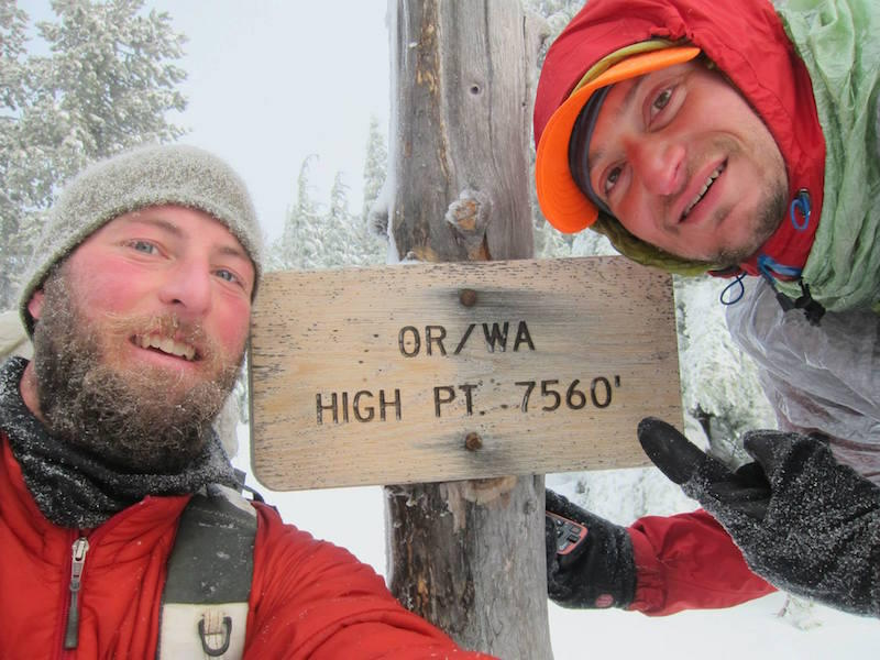 Shawn Forry, left, and Justin Lichter on the Pacific Crest Trail in Oregon in December.