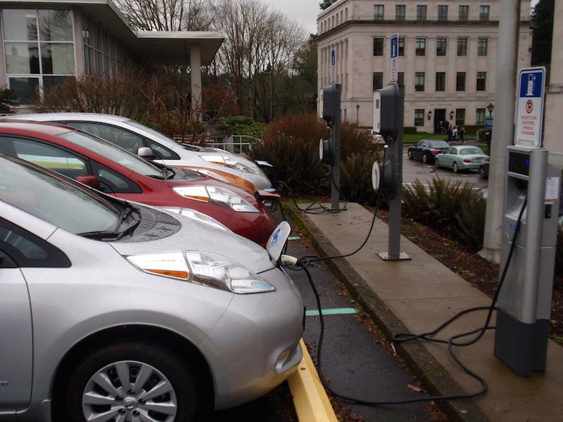 File photo of electric cars charging at the Washington state Capitol in 2015.