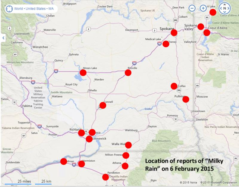 Locations of reports of 'milky rain' on February 6, 2015.