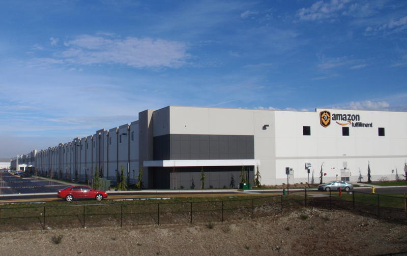 The outside view of Amazon.com's 1 million-square-foot warehouse in DuPont, Washington.