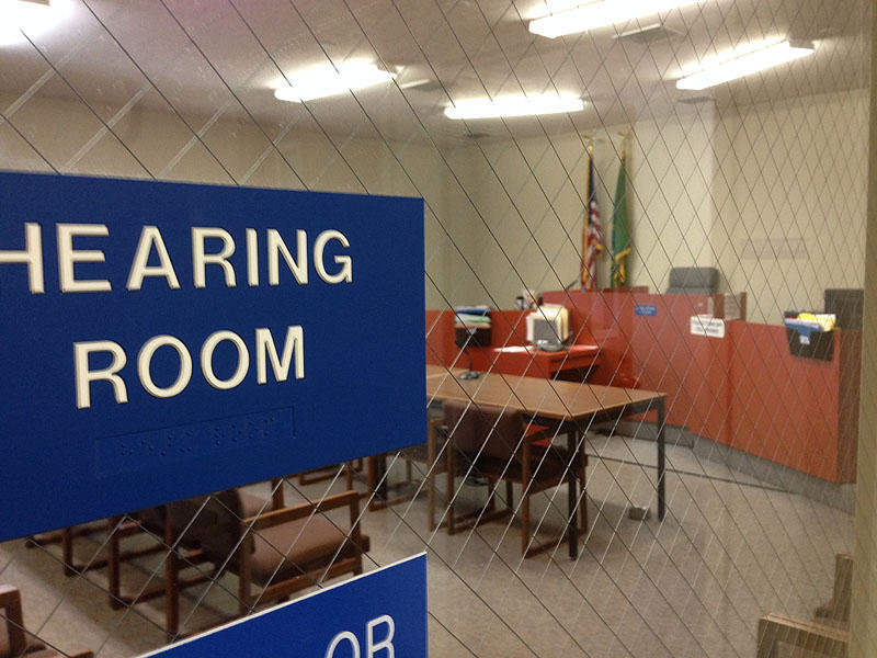 This is the courtroom at the juvenile detention center in Grays Harbor County where truancy petitions are heard.