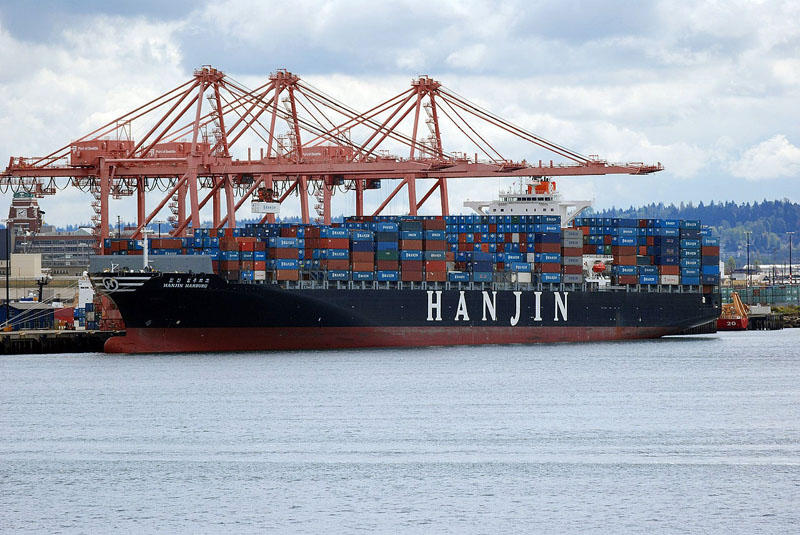 File photo of the container ship Hanjin Hamburg at the Port of Seattle.