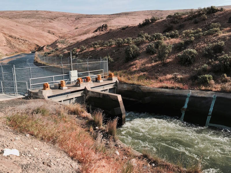 The 11-Mile Headgate for the Roza Irrigation canal outside of Yakima, Washington. Managers shut off the water to the Roza Irrigation District Monday for about two weeks to conserve water in this year's drought.
