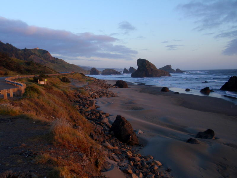 A stretch of coastline accessible via the West Coast Electric Highway, in Curry County, Oregon.
