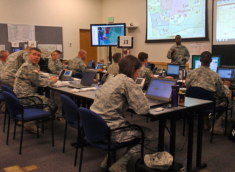 Washington National Guard members coordinated rescue and response to a simulated magnitude nine earthquake from Camp Murray near Tacoma.