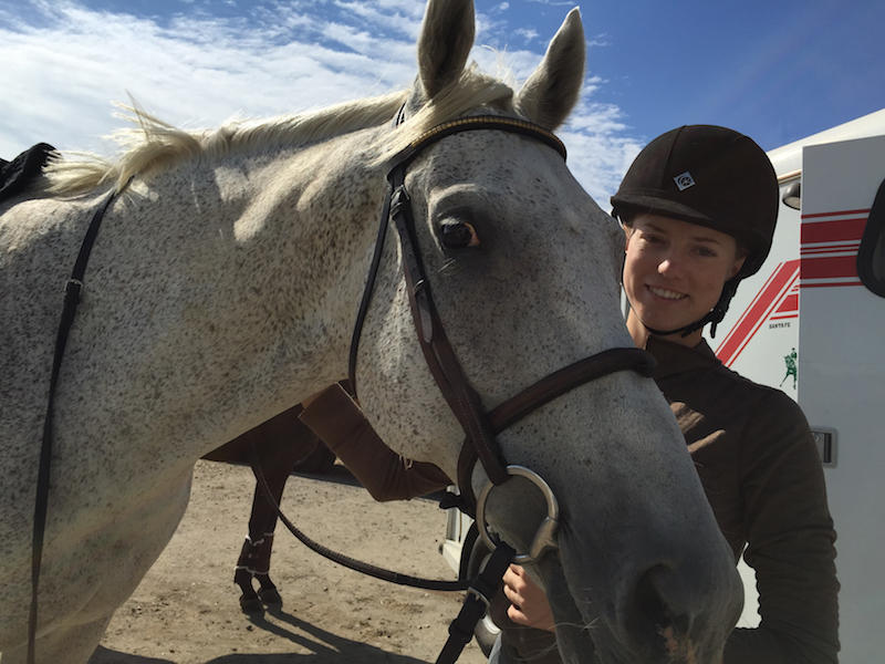 Tulie Budiselich and her flea-bitten-grey Thoroughbred Cooper are among the horses and people who evacuated in the middle of the night from the Moccasin Lake Ranch near Winthrop, Washington.