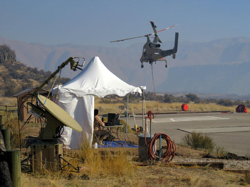 Two controllers in this tent on the ground put the K-MAX unmanned chopper through its paces.