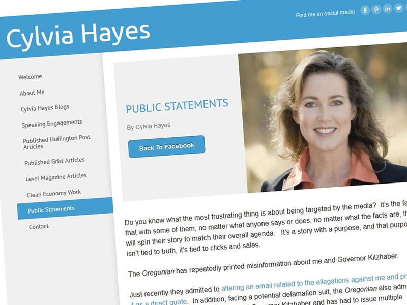 Screenshot of former Oregon first lady Cylvia Hayes' blog post