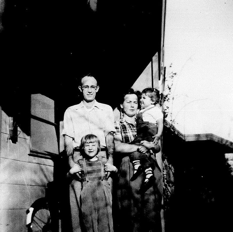 The Brown family in 1955. Jane Hedges is seen in her mother Mary's arms along with her father Bill and sister Melina.