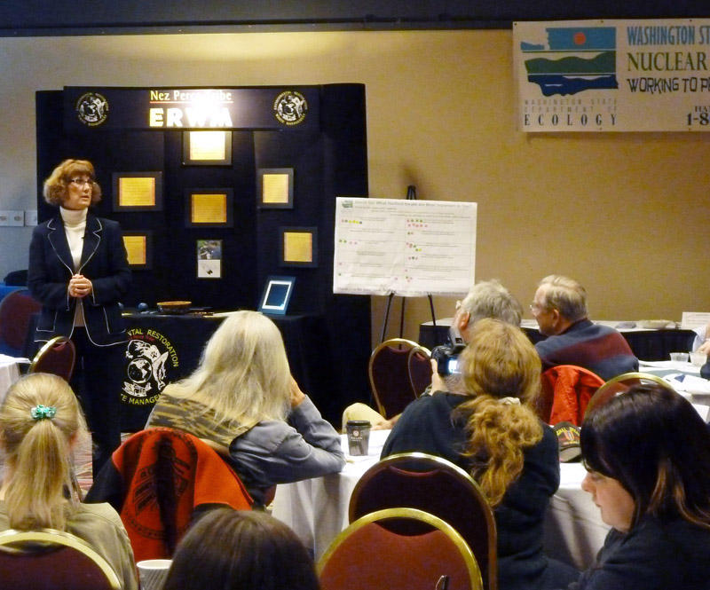 Jane Hedges provides opening remarks at a State of the Hanford Site meeting in Richland in 2011.