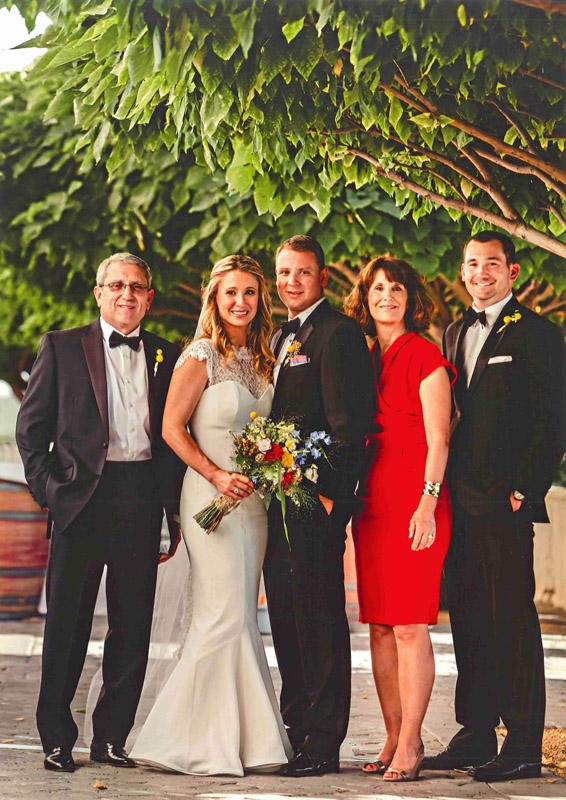 Wedding portrait from left: Jane Hedges' husband, Pete Hedges, daughter Rachelle Hedges Moore, son in-law Zac Moore, Jane, and son Alex Hedges.