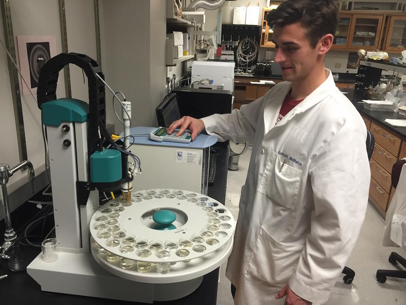 WSU Ph.D. student Kenny McMahon evaluated sparkling wine samples with the 'electronic tongue.'