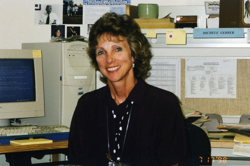Michele Gerber in her office doing historical research on the Hanford Site in 1995.