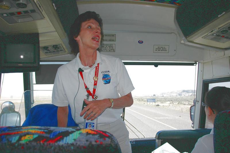 Michele Gerber presents to an audience on a tour bus at the Hanford Nuclear Reservation in 2006.