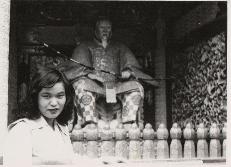 Kazuko Nishimoto (then Ozaki) is seen as a 24-year-old in front of a temple in Nikko, Japan in 1953.