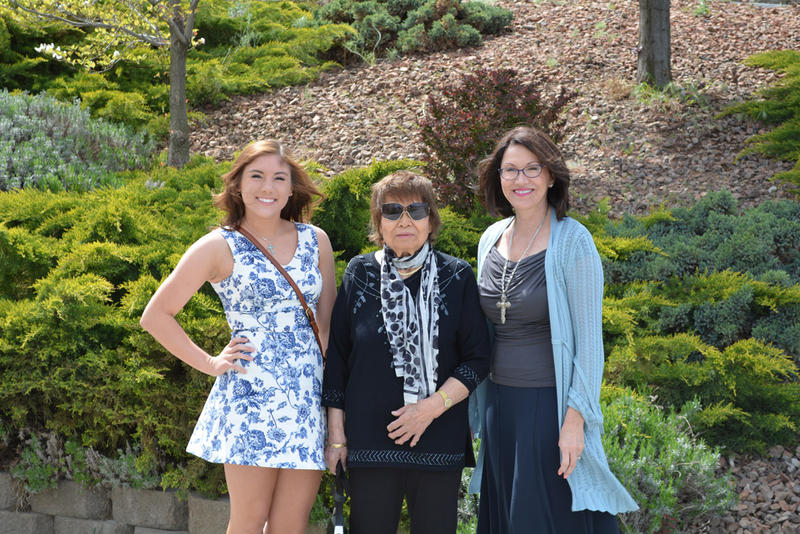 Sarah McCormick, left, Kazuko [Ozaki] Nishimoto and Shirley Olinger before a Mother's Day brunch in 2014.