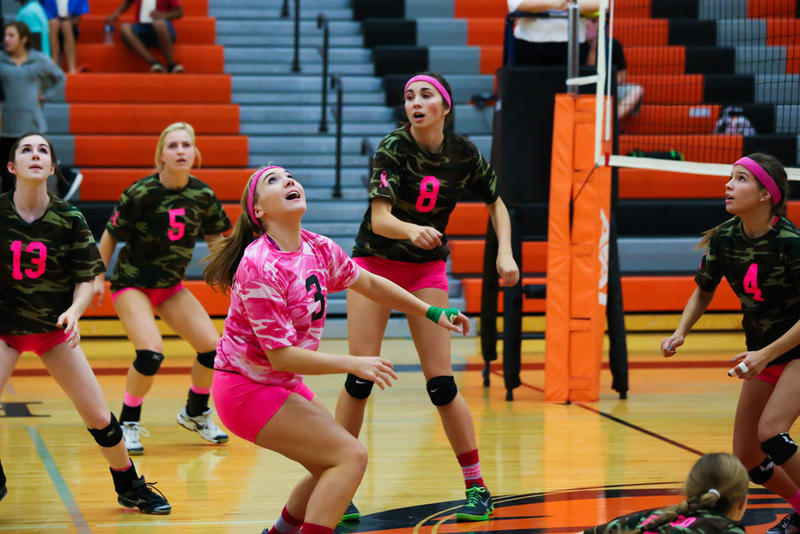 Sarah McCormick (3), plays with the Bomber volleyball team in her senior season (2014-15).
