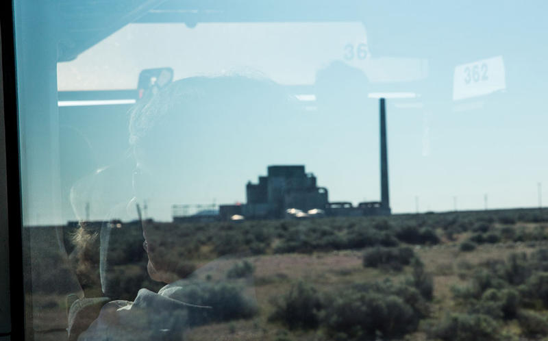 A tour group approaches Hanford's B Reactor.