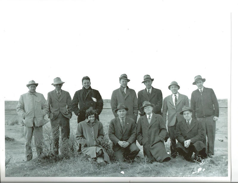 Standing from left, George Weil, Charles Wende, John Marshall, Kelly Woods, Rudolph Kanne, John Wheeler, and Sidney Kuniansky. Kneeling from left are Leona (Woods) Marshall Libby, John Miles, Hood Worthington, and Walter Jordan
