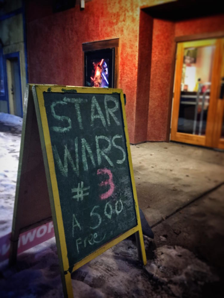To get ready for the premier of Star Wars in Burns, Oregon, the Desert Historic Theatre has been playing the old Star Wars movies for free.