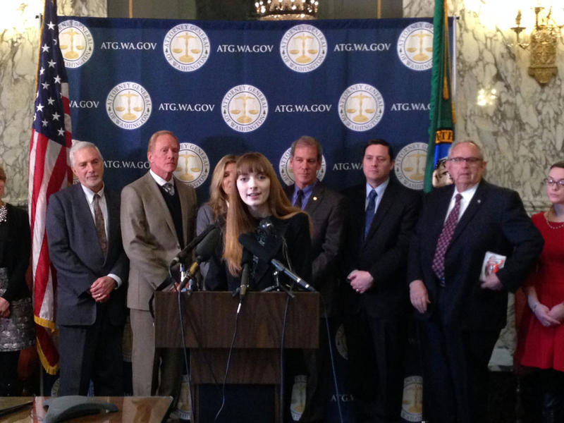 Sarah Stewart, a senior at Mercer Island High School, speaks at a news conference to announce a bipartisan effort to raise the smoking and vaping age in Washington to 21.