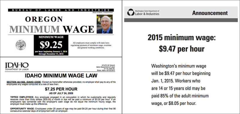 Posters displaying the minimum wages in Oregon, Washington and Idaho