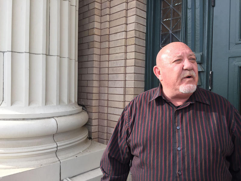 Franklin County Coroner Dan Blasdel on the steps of the Franklin County Courthouse on Wednesday, just after the county commission agreed to pay for his coroner's inquest into the death of Antonio Zambrano-Montes.