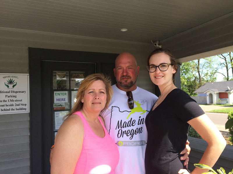 Loren Kruesi operates the 2nd Step Dispensary in Salem along with his wife, Val, left, and daughter, KC, right.
