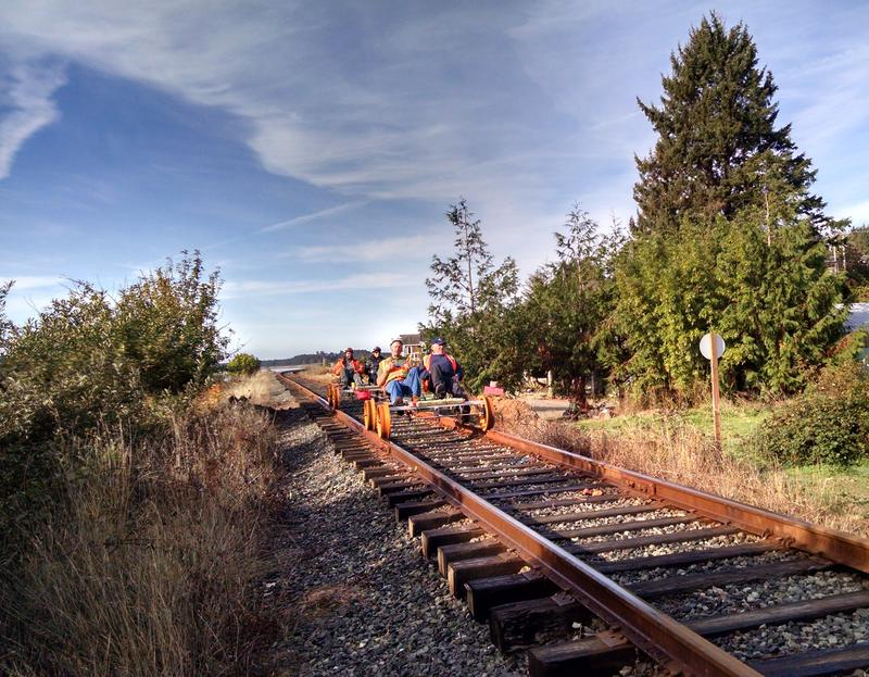 Testing the new stretch of inactive rail line on Tillamook Bay.