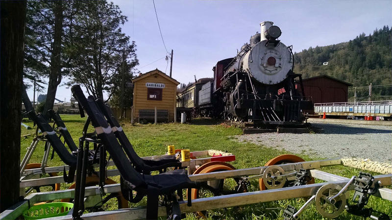 Oregon Coast Railriders offers tours on an unused stretch of rail between Bay City and Tillamook, Oregon, using custom designed pedal-powered ''Railriders.''