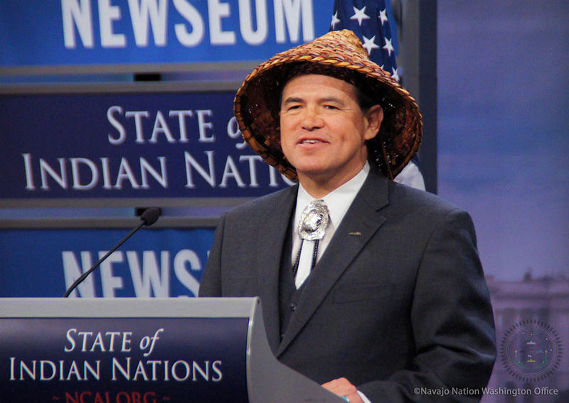 File photo of National Congress of American Indians President Brian Cladoosby delivering the State of Indian Nations in 2014.
